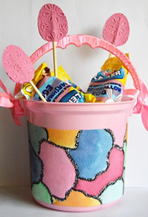 Floating Eggs Easter Basket - add marshmallow eggs and paper eggs