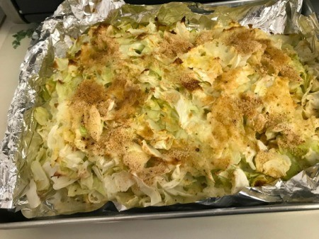 Baked Cabbage on foil lined baking sheet