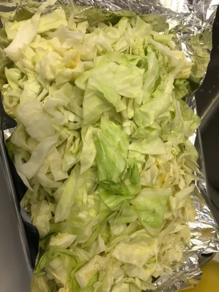 cabbage on foil in pan