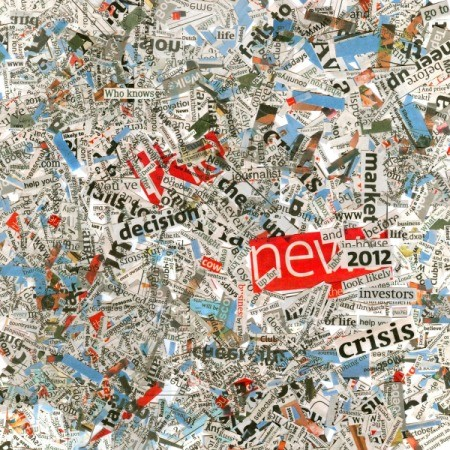 Collage of words from newspapers and magazines.