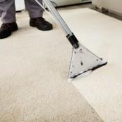 Carpet shampooer cleaning white carpet