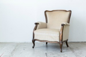 Vintage wooden upholstered chair.