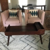 Information on Mid Century Antique Coffee Table - in living room