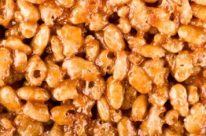 Scotcheroos butterscotch rice krispies treats in a pan.