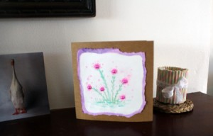 Floral Art Greetings Card - card standing on a table top