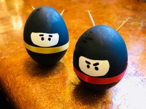 Standing Ninja Eggs - closeup of two Ninja eggs