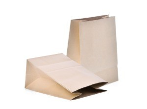 Paper grocery bags on a white background
