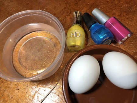 Nail Polish Marbled Eggs - supplies
