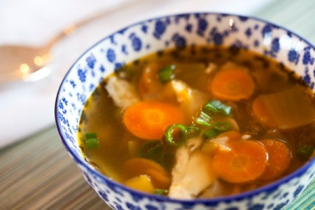 Chicken and vegetable soup in a bowl