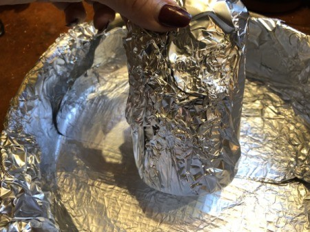 foil wrapped can for center of pan