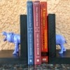 Making Plastic Animal Bookends - holding up books on a shelf