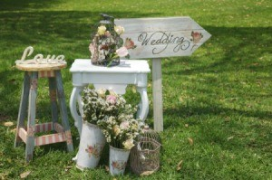 Vintage themed wedding and reception decorations on grass