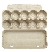 Dozen egg carton open on white background