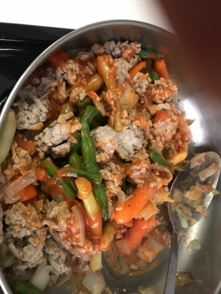 added vegetables and tomato soup to filling