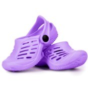 Purple Crocs shoes on white background