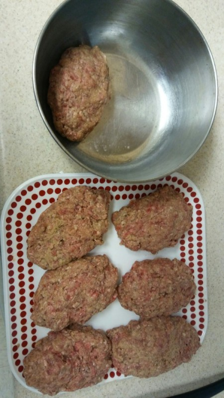uncooked Meat Loaf Patties on plate