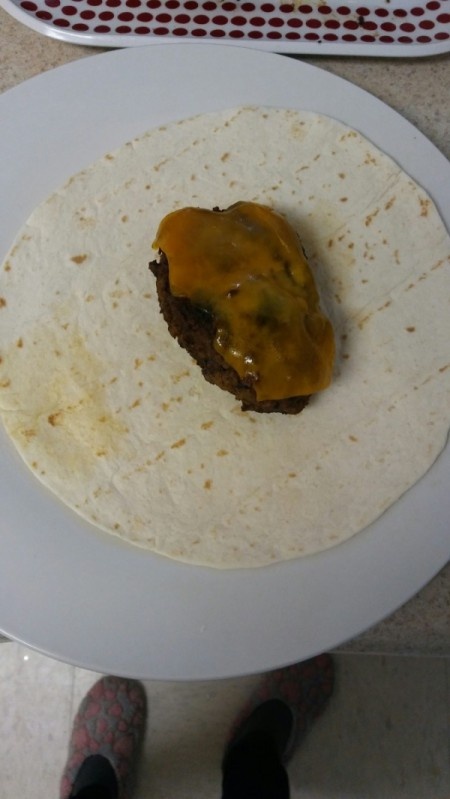 Meat Loaf Patties on tortilla with cheese