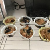 Banana Blueberry Muffins on rack