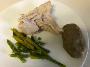 cooked turkey on plate with asparagus