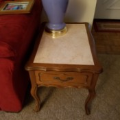 Value of Vintage Mersman End Tables - marble topped end table with drawer