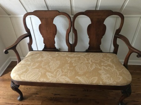 Identifying An Ornate Wooden Double Bench Dark Wood Two Seat With Upholstered