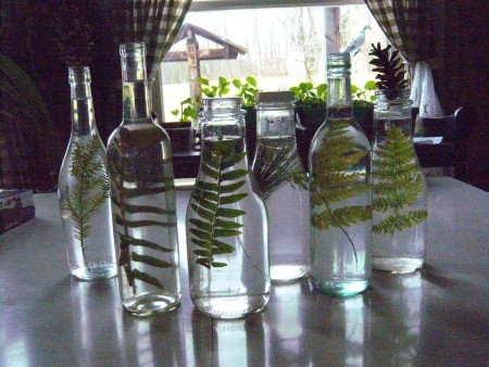 Pretty Botanical Centerpieces - glass bottles with fern fronds