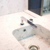 One piece marble bathroom sink.