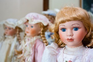 Bisque or porcelain dolls.