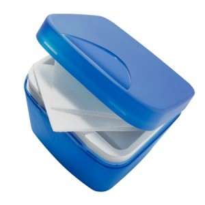 Small blue container of cleaning wipes