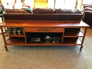 Value of Henredon Furniture - sofa table with drawer and shelves