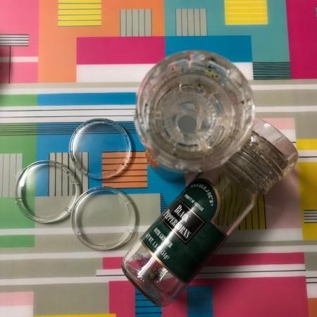 Clear Plastic Cap Magnets - peppercorn jar and caps