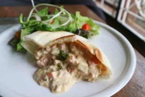 Pita bread stuffed with tuna salad.