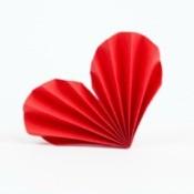 Fan folded paper heart.