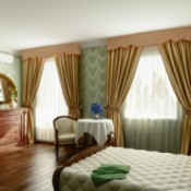 Bedroom with patterned valances