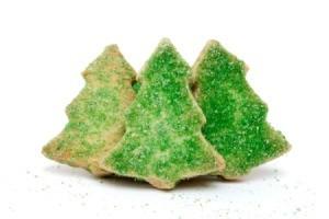 Tree cookies with green sugar sprinkles.