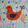 Colorful Spring Bird Kids Artwork - closeup of the artwork with more detail added to the bird's body