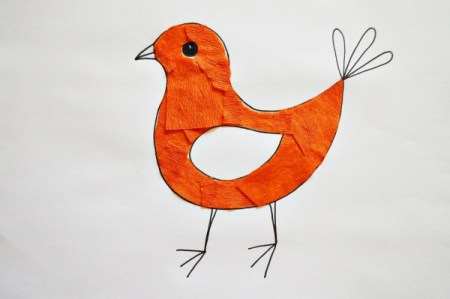 Colorful Spring Bird Kids Artwork - cut and cover the body with pieces of orange crepe paper