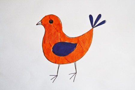 Colorful Spring Bird Kids Artwork - use bits of blue purple paper to cover the wing and tail feathers