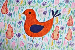 Colorful Spring Bird Kids Artwork - use pens to add more detail to the grass