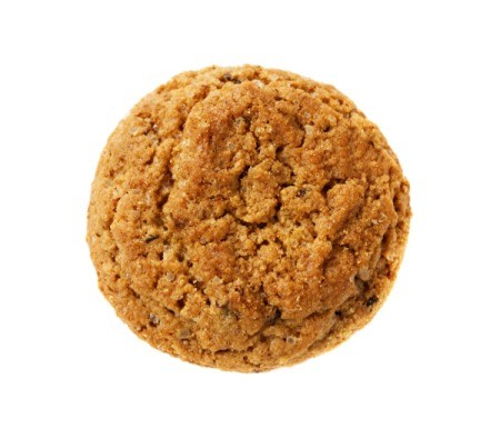 Moist Oatmeal Cookie on a white background