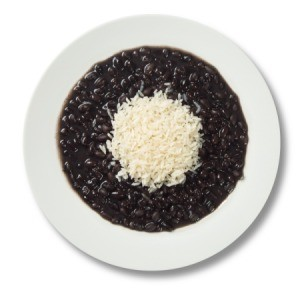 Black Beans and Rice in a white bowl