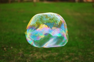 Large Bubble outside with grass background