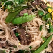 Beef and Tofu Pad Thai on plate