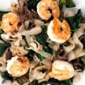 Noodles with Beef and Shrimp on plate