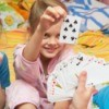 Kids playing with cards and learning math