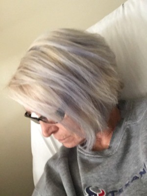 Gray Hair Dye Is Too Blue - woman with blue tints in hair