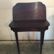 Value of Mersman Card Table - view of dark wood card table with one side folded up