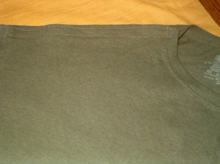 Altered T-Shirt for Shoulder Surgery  - shoulder seam with Velcro closed