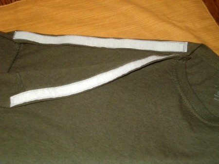 Altered T-Shirt for Shoulder Surgery  - view of Velcro strips in place