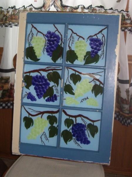 Old Window Painting - painting of grape vine on old six pane window